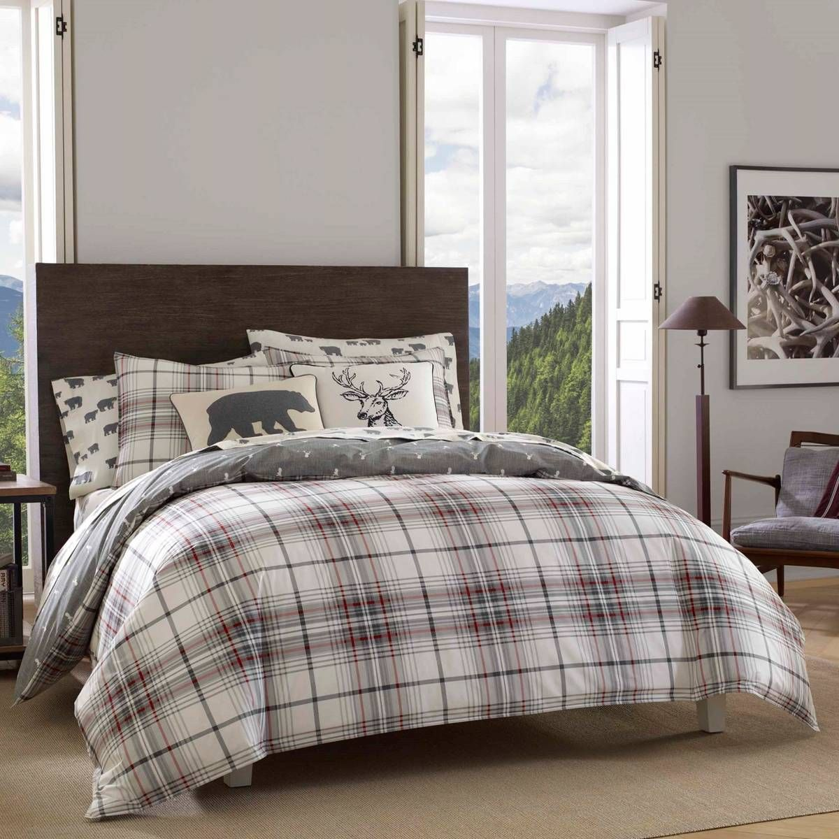 Charcoal Adler Plaid Comforter Set King Eddie Bauer