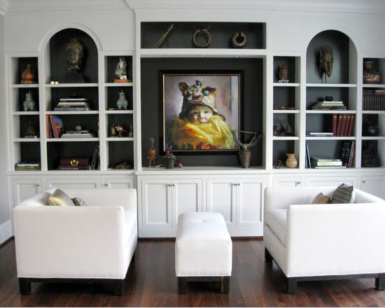 Shelves With Dark Backing Diff Wood Floors Contemporary Living Room Living Room Furniture Layout Bookshelves Built In