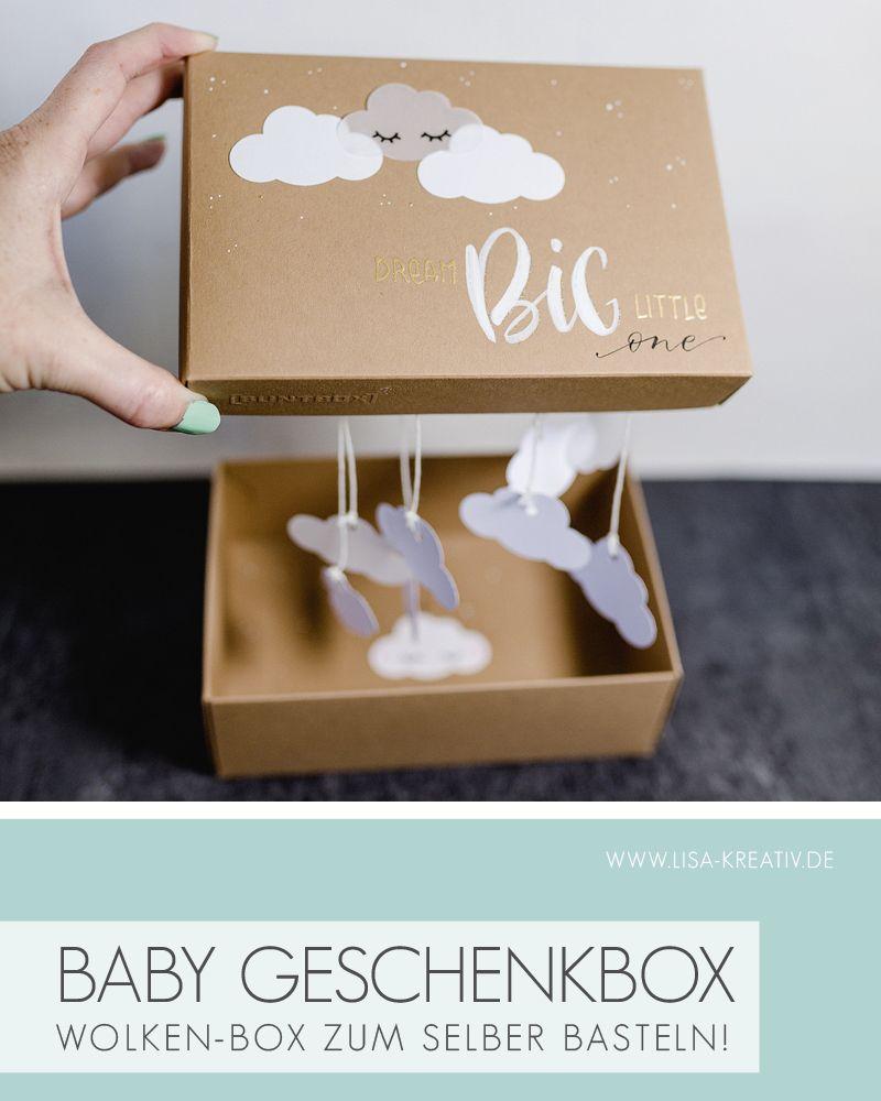 Wolken-Geschenkbox mit kleiner Überraschung beim Öffnen
