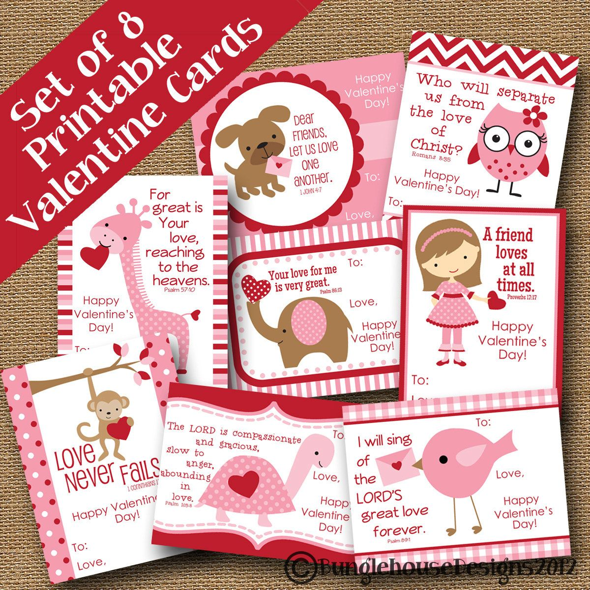 Free Printable Scripture Verse Valentines – Christian Valentine Cards for Kids