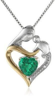XPY Sterling Silver and 14k Yellow Gold Heart Mother's Jewel Created Emerald and Diamond Accent Pendant Necklace, 18quot;  https://in.kato.im/a1e01c9c4d0072fb2486c0345cf29ba14596f40eb755f3299ef6caa2da17187a/B005GD4S9U.html