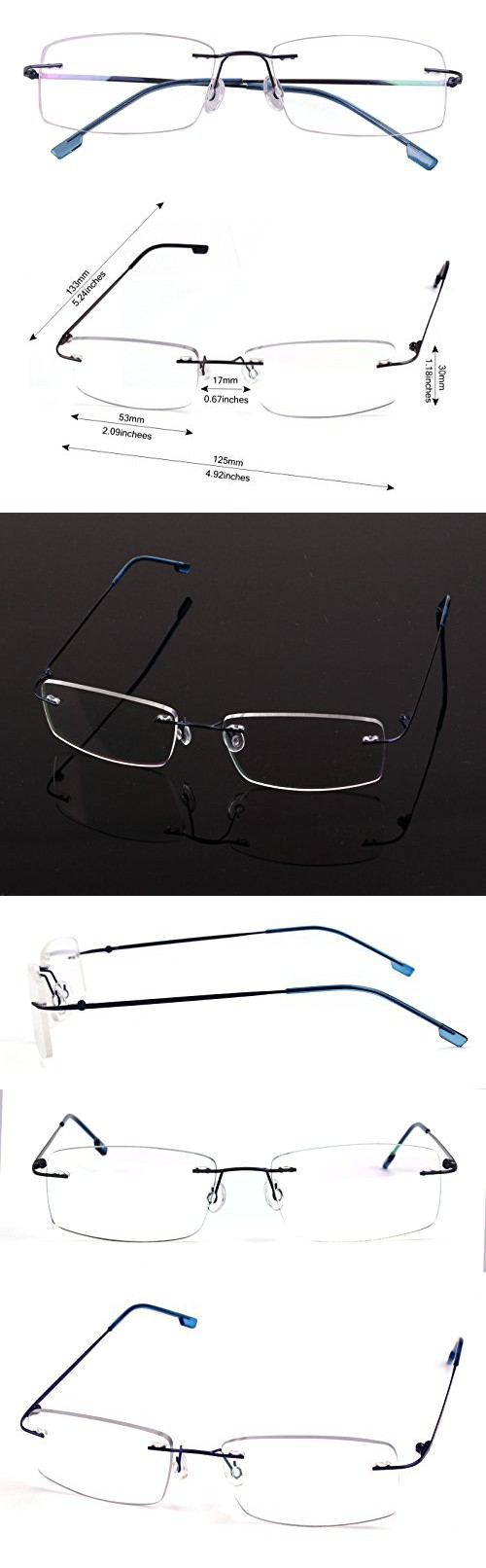 831d9ff0c81 Agstum Titanium Alloy Flexible Rimless Hinged Frame Prescription Eyeglasses  Rx (Blue