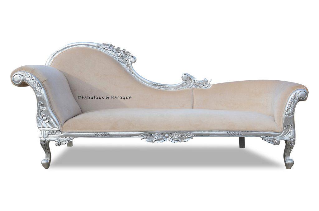 Queen Anne S Revenge Chaise Silver Amp Cream Velvet