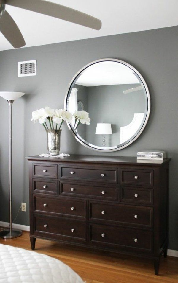 Wandfarbe Grau Wandgestaltung Mit Spiegeln Mehr