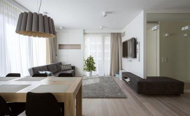 fernseher-wand-montieren-wohnzimmer-naturtoene-einrichtung | خونه, Wohnzimmer dekoo