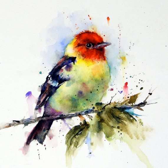 Original Watercolor Bird Painting 2 Warblers Romantic Birds
