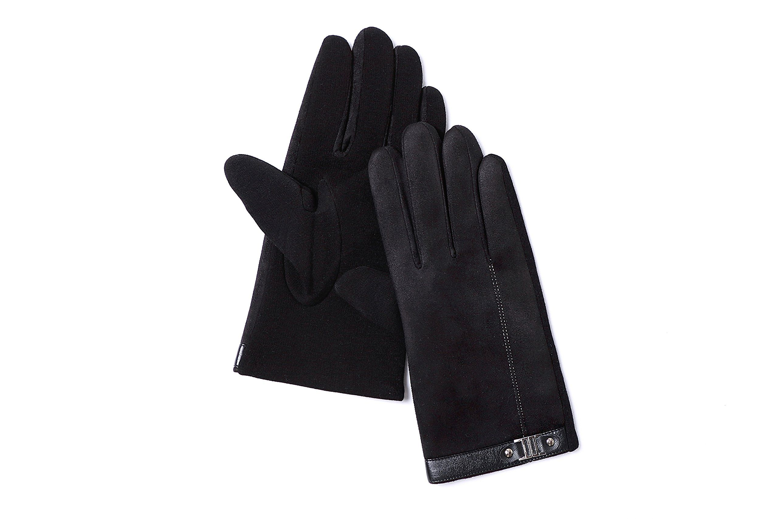 c6582ddc1 YISEVEN Mens Suede Chamois Leather Gloves Touchscreen Flat Design Plain  Lined Luxury Soft Hand Warm Fur Heated Lining for Winter Spring Stylish  Dress Work ...