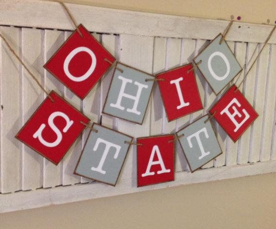 Ohio State Banner Garland Bunting Sign Distressed Farmhouse Football Fan Decoration Photo Prop Buckeyes #ohiostatebuckeyes