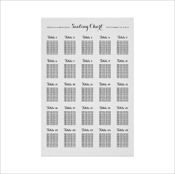 Wedding Seating Chart Template - 12+ Examples in PDF, Word Free - printable seating charts