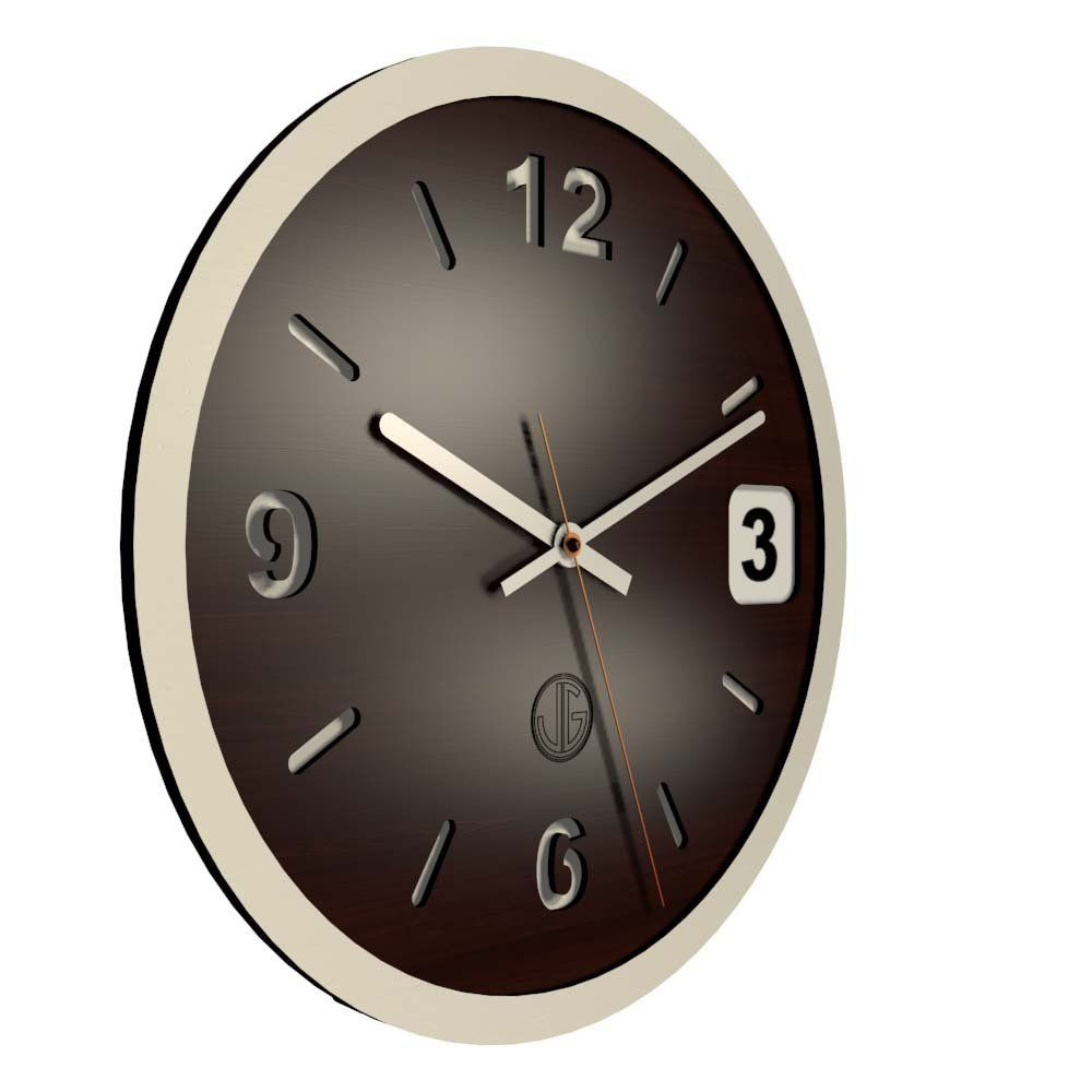 Design Wooden Wall Clock 12 Inches Wood And White Non Ticking Quiet Sweep  Decorative Modern