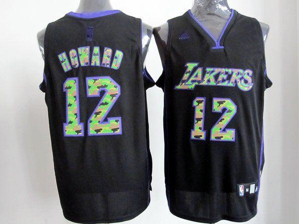 3dfbe323c Adidas NBA Los Angeles Lakers 12 Dwight Howard Camo Black Swingman Jersey