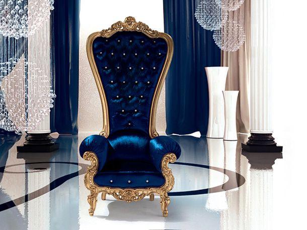 Royal Bleu Colorful Interior Design Throne Chair Royal Blue And Gold