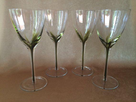 Hand Blown Wine Tall Stem Glass Italian Crystal by DotnBettys