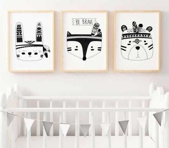 Pinspiration Une Chambre Noir Et Blanc Pour Votre Bebe Tableau