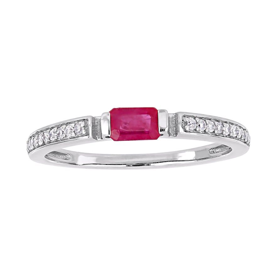 Stella Grace 10k White Gold 1 10 Ct T W Diamond Ruby Ring White Gold Diamond Women Jewelry