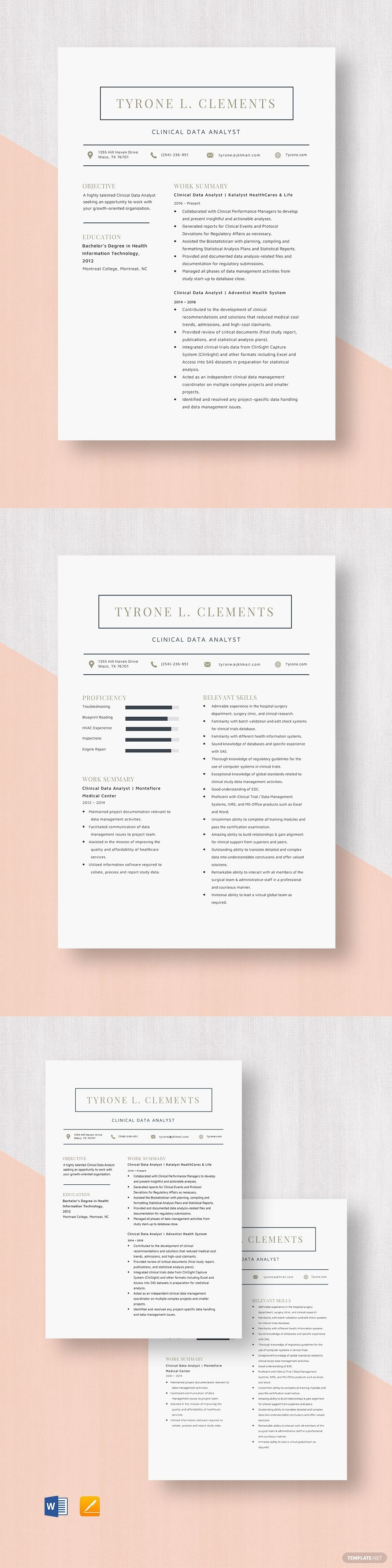 Clinical data analyst resume template ad affiliate