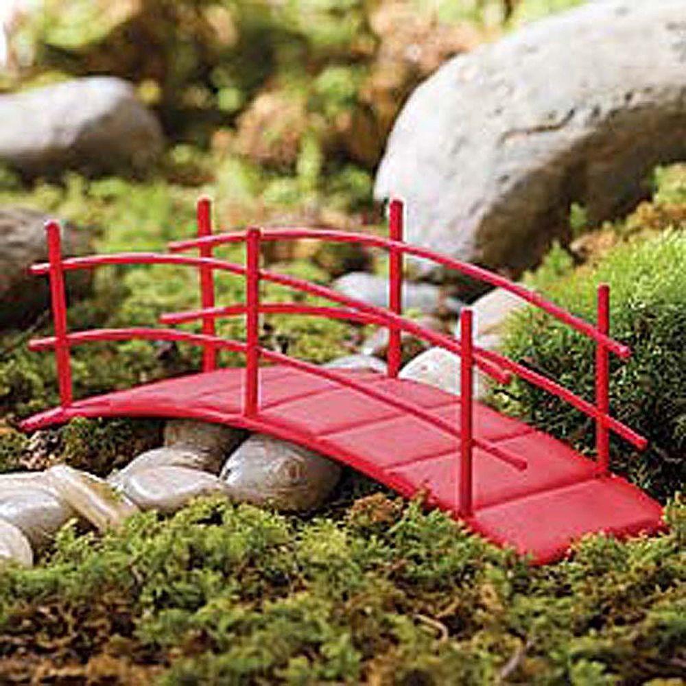 Dollhouse Miniature Fairy Garden Metal Red Zen Bridge,