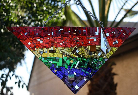 Pride Mirror Mosaic Triangle Beyond Fabulous  by hungryholler, $275.00