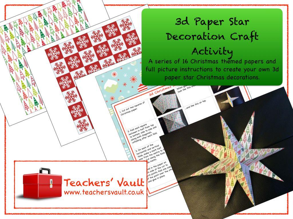 3d Paper Star Decoration Craft Activity Craft activities