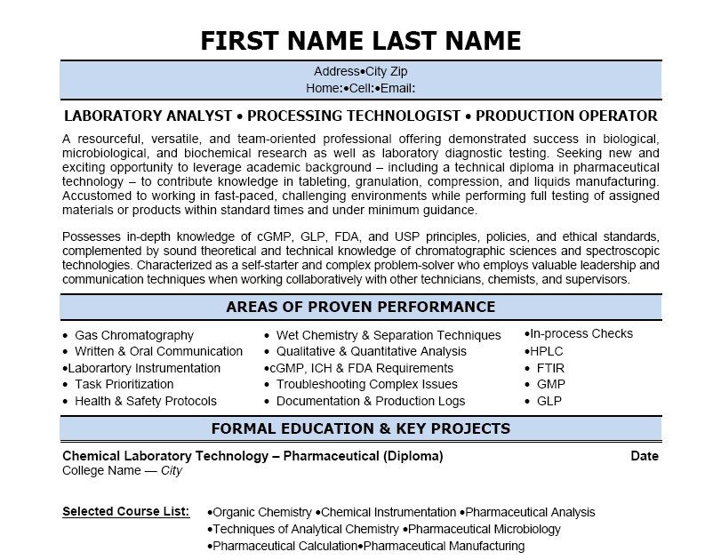 Click Here to Download this Lab Analyst Resume Template! http - standard resume template