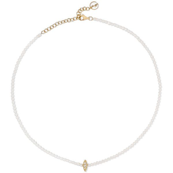 Anissa Kermiche 14-karat gold, pearl and diamond choker (3.865 BRL) ❤ liked on Polyvore featuring jewelry, necklaces, pearl choker, 14 karat gold necklace, white pearl choker, pearl diamond necklace and diamond choker necklaces