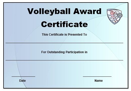 Volleyball Certificate Templates Word  Volleyball Certificates Free