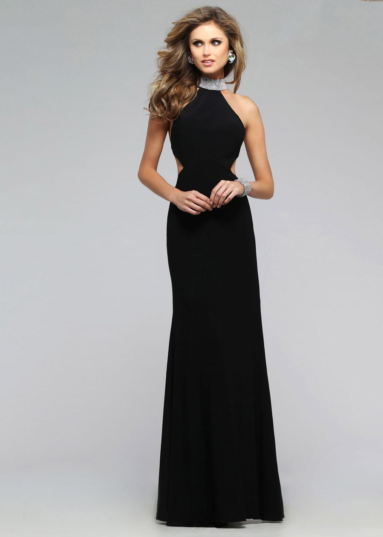 Sexy side cut outs jeweled halter faviana black evening dress