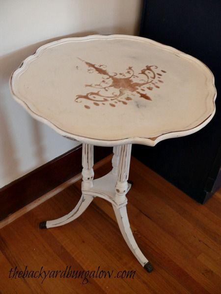 Stenciled table thebackyardbungalow.com