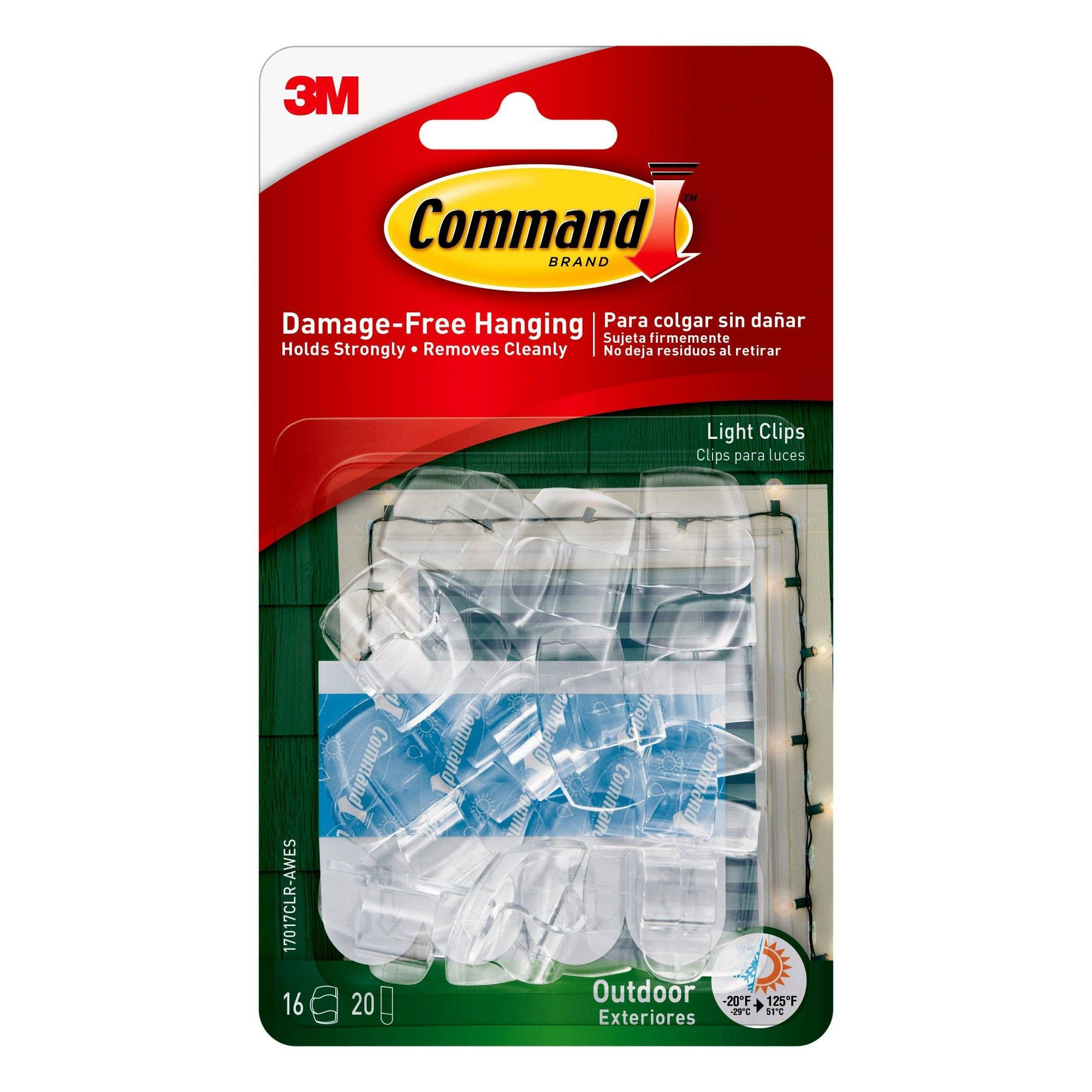 Command clear outdoor light clips with foam all weather