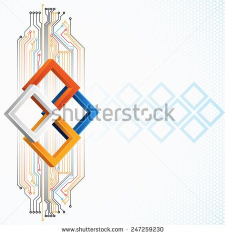 Abstract technology background; Tree dimensions squares with electronic circuits, squares and hexagons pattern in background.