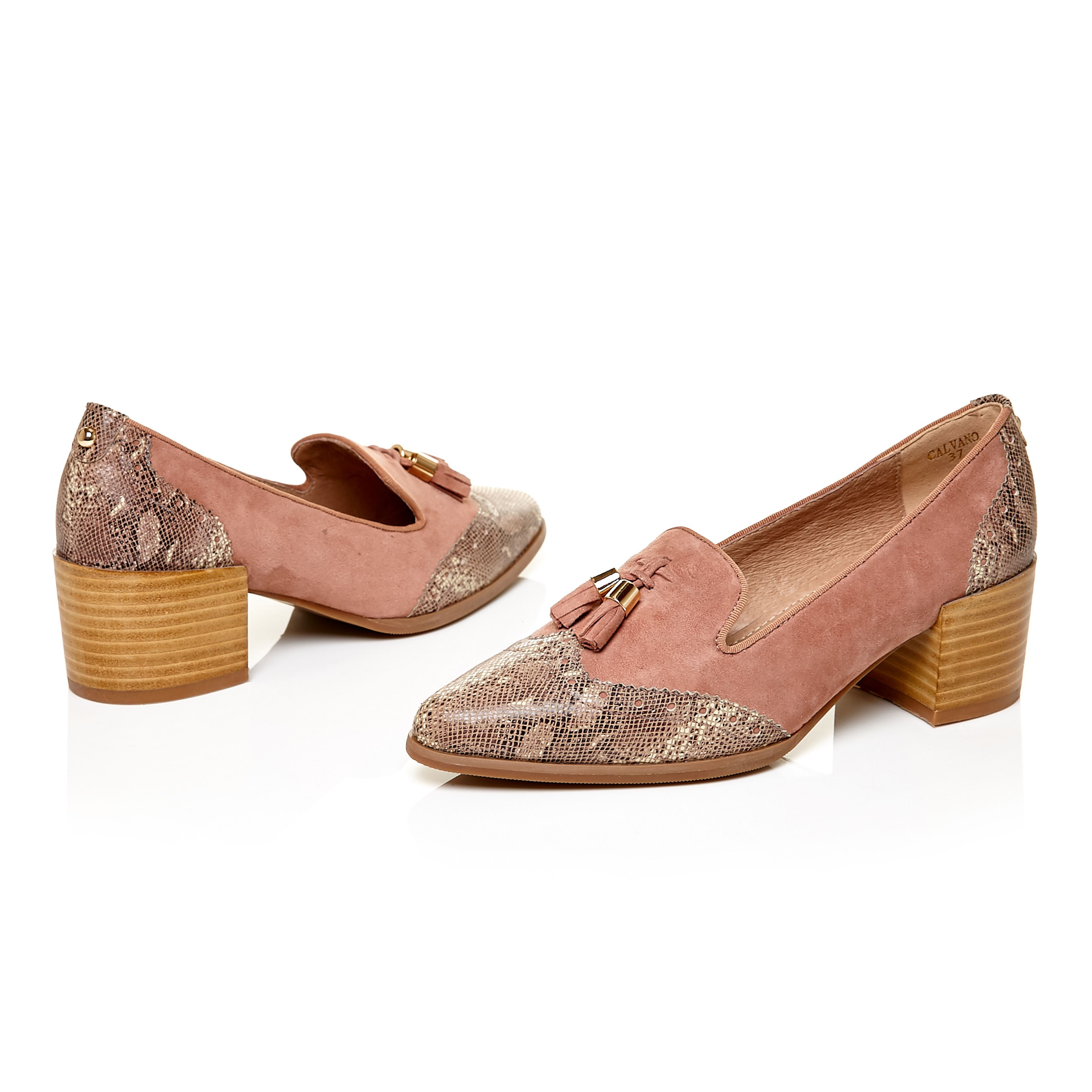 42b37cc6b2fb Calvano  Blush suede pointed tassel snakeskin effect leather block heel  loafers http