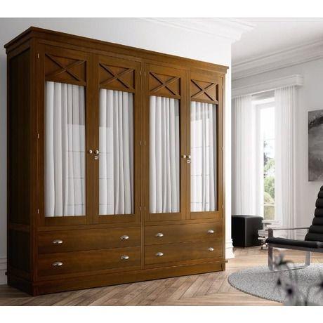 Armario verona 4 puertas visillo miel patinado for Puertas originales madera