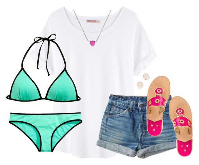 """""""it's way too cold to make a bikini set. but oh """" by kaley-ii ❤ liked on Polyvore featuring Organic by John Patrick, H&M, Jack Rogers and Kendra Scott"""