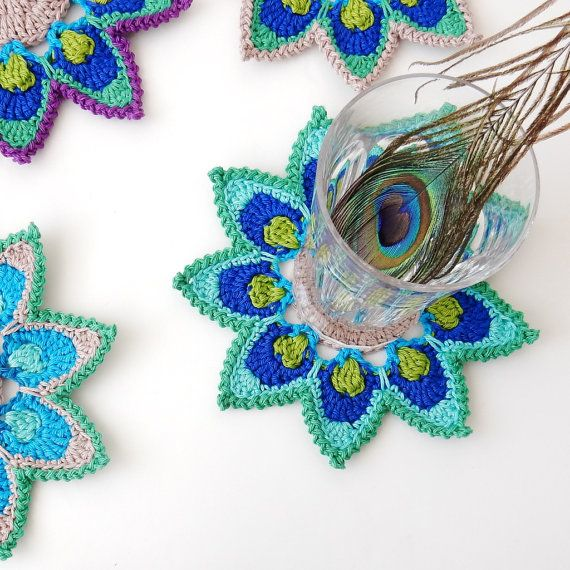 Crochet Coaster PATTERN Peacock Feather Petals - Original Design by ...