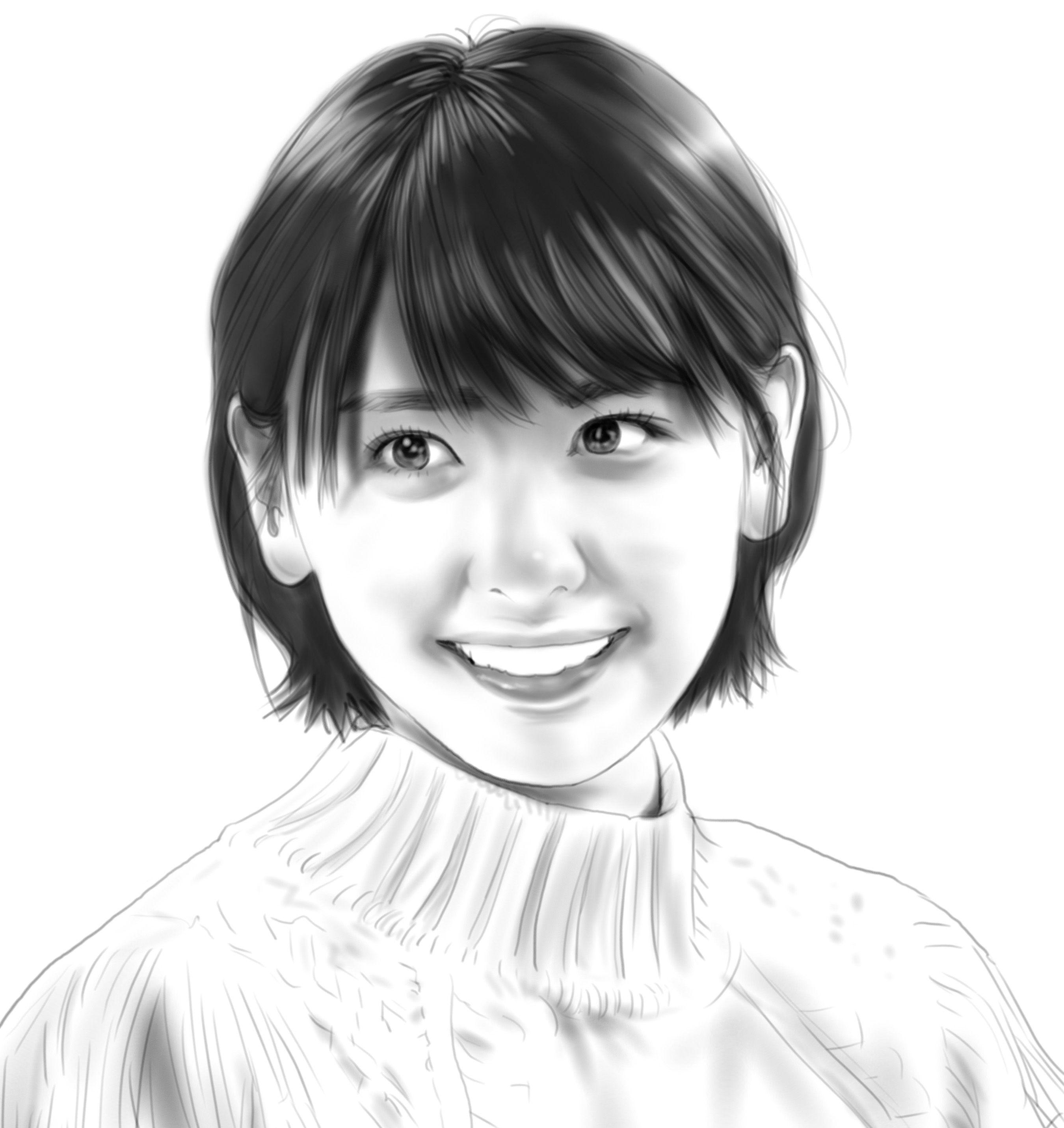 新垣結衣さん 似顔絵 イラスト イラストレーション 女優 新垣
