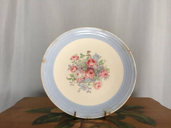 Floral Plate Blue White Pink Red Roses Vintage Distressed