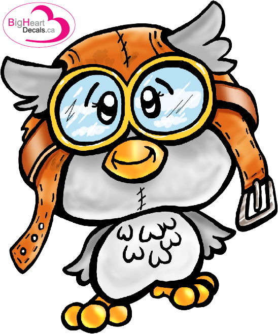 Ol' Aviator Owl from Big Heart Decals Inc. Made in Canada. Fabric stickers or wall decals for nursery or kids playrooms. Sticks on walls, windows and flat surfaces.  Movable, removable, no residue.  Price: $20.00- 11.5 x 13.75 inches
