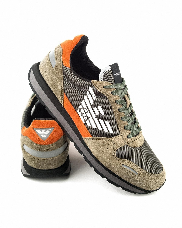 44e6aca6 Zapatillas EMPORIO ARMANI ® Khaki & Naranja | ENVIO GRATIS Zapatillas  Armani, Tiendas Online De