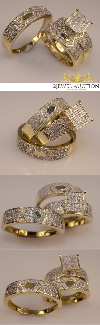 Diamonds and Gemstones 92909: Diamond Wedding 14K Yellow Gold Trio His And Her Bridal Band Engagement Ring Set -> BUY IT NOW ONLY: $170.58 on eBay!