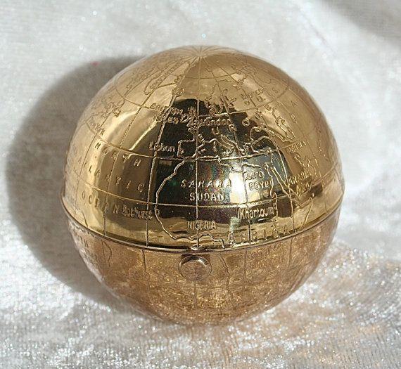 Free shipping rare vintage globe atlas shape pygmalion powder free shipping rare vintage globe atlas shape pygmalion powder compact with map of the world gumiabroncs Gallery