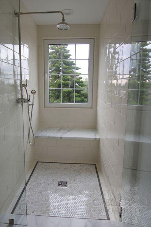 Bathroom Windows Over Shower cabochon tile - bathrooms - glass front walk in shower, window in