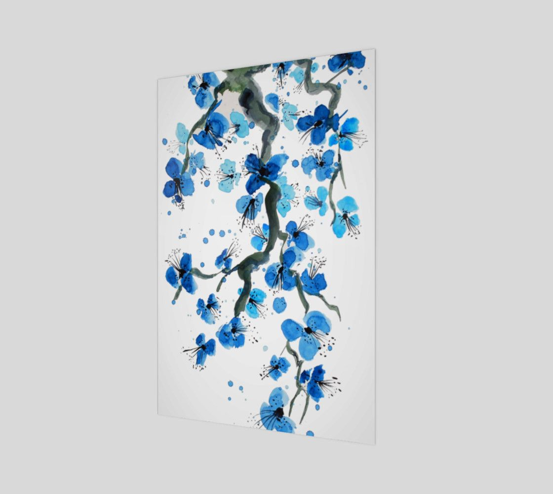 Blue Japanese Blossoms Art Print Poster Acrylic Painting Flowers