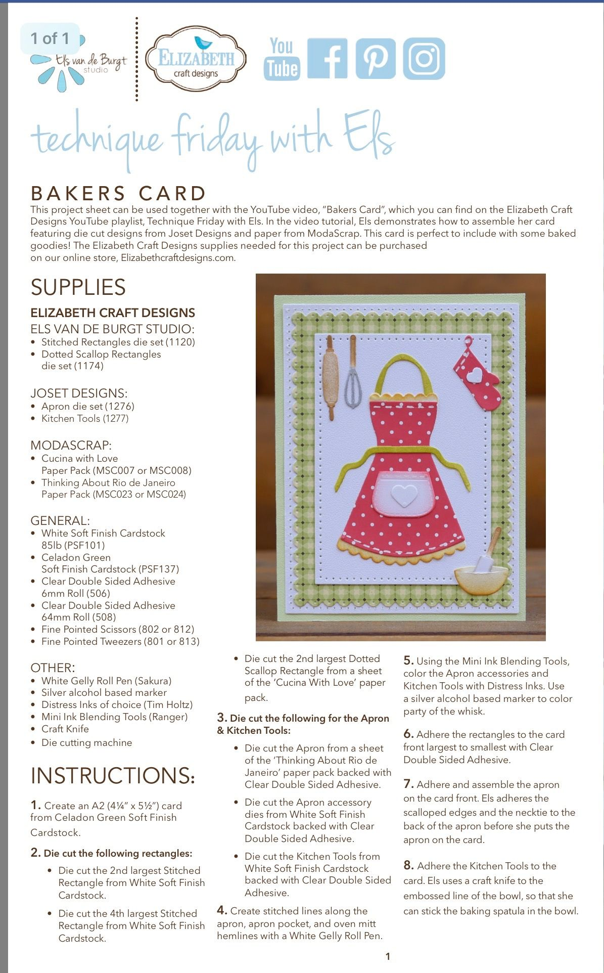 Apron Card Instructions Cards Elizabeth Crafts Krazy Kreations
