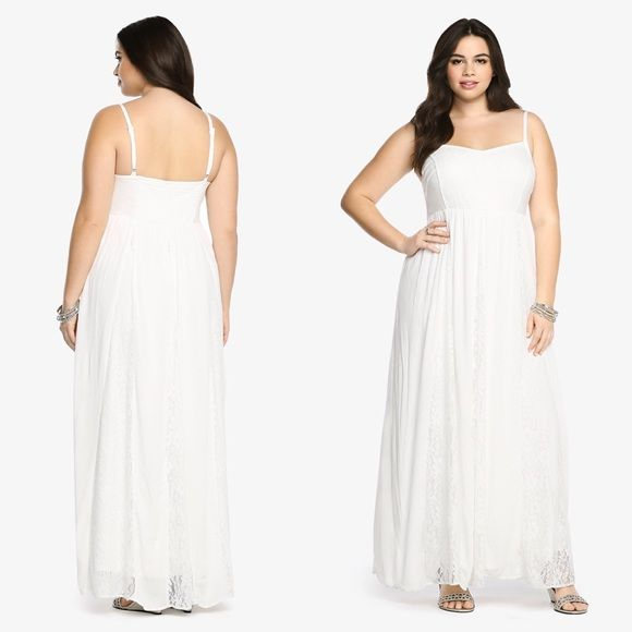Stunning Torrid Lace Gauze Maxi Dress Plus Size Plus Size Maxi Dresses White Lace Maxi Dress Gauze Maxi Dress