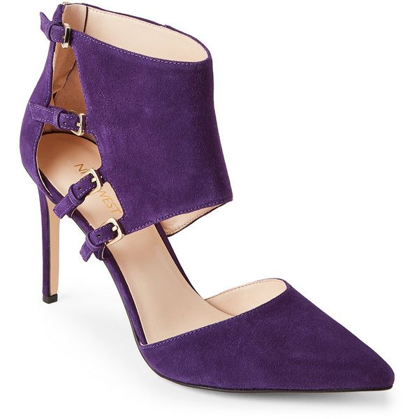 Nine West Purple Trust Me Buckled Pointed Toe Pumps ($50) ❤ liked on  Polyvore