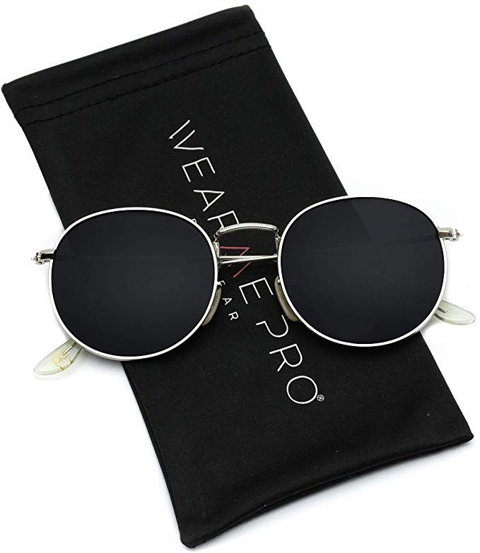 342965f64 Amazon.com: WearMe Pro - Reflective Lens Round Trendy Sunglasses (Silver  Frame/Black Lens, 51): Clothing