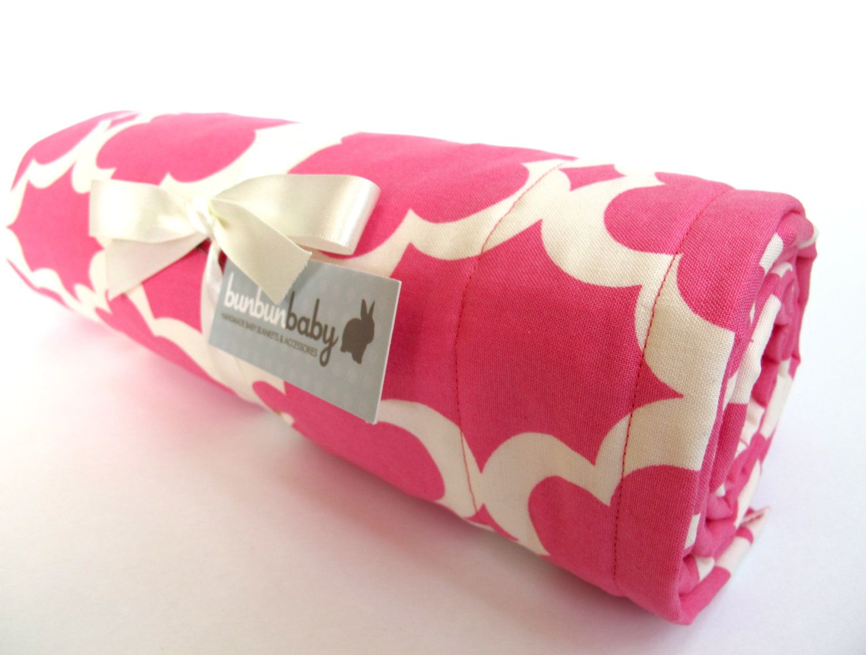 Baby Girl Blanket - Fuschia and Cream Moroccan Tile Design - Taza ...