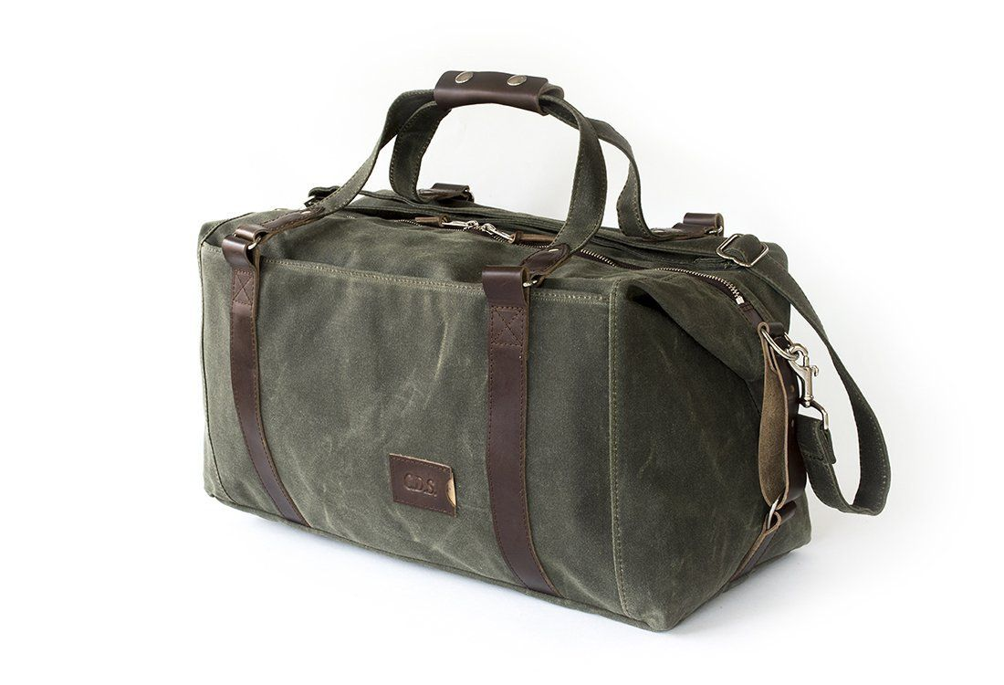 495 Weekend Duffle Bag, Personalized, Expandable in Olive Green Waxed Canvas 337dce9175