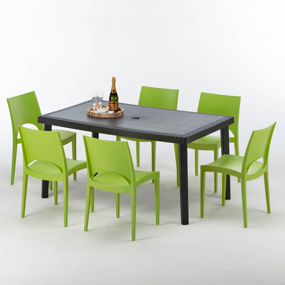 Tavolo Con Sedie Rattan.Tavolo Rettangolare Con 6 Sedie Rattan Sintetico Giardino Colorate