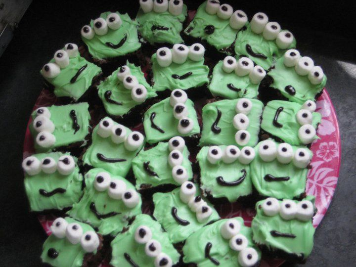Made these alien brownies for a toy story party. Green food coloring ...